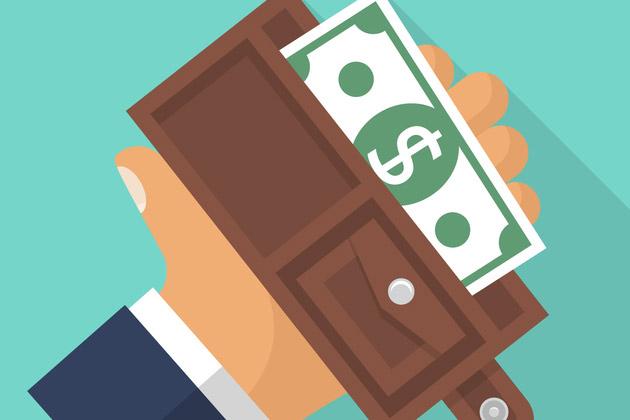 desenho de carteira com dinheiro