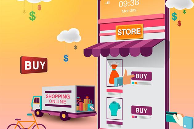 Ilustração de loja virtual e entregas do seu e-commerce